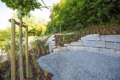 Kiesplatz eingerahm mit natursteinen