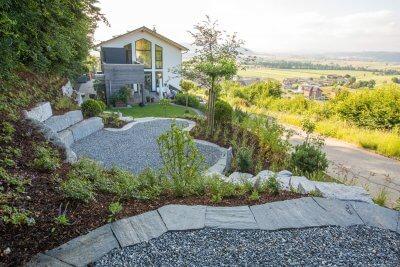 Gartenlandschaft mit Aussicht