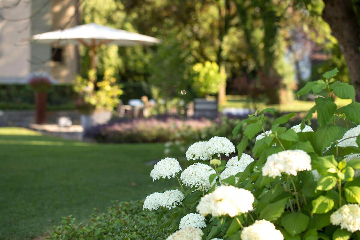 Sitzplatz mit Blumen